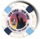 NewYorkNewYork Hotel One Dollar Chip. - Product Image