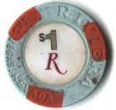 Riviera Hotel One Dollar Chip. - Product Image